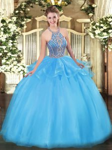 Best Selling Sleeveless Beading and Ruffles Lace Up Sweet 16 Dresses