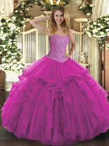 Flirting Floor Length Fuchsia Sweet 16 Dress Tulle Sleeveless Beading and Ruffles