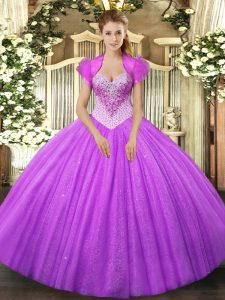 New Arrival Lilac Ball Gowns Beading Quinceanera Gowns Lace Up Tulle Sleeveless Floor Length