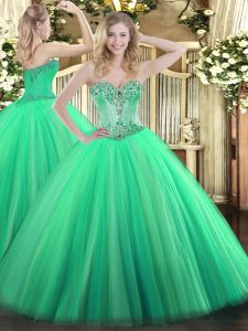 Chic Turquoise Lace Up Quince Ball Gowns Beading Sleeveless Floor Length