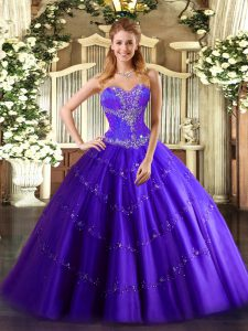 Exceptional Purple Sleeveless Tulle Lace Up Sweet 16 Quinceanera Dress for Sweet 16 and Quinceanera