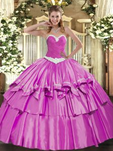 Lilac Lace Up Vestidos de Quinceanera Appliques and Ruffled Layers Sleeveless Floor Length