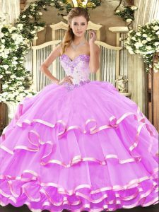 Flirting Floor Length Lilac 15th Birthday Dress Organza Sleeveless Beading and Ruffled Layers