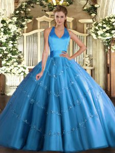 Sleeveless Floor Length Appliques Lace Up Quince Ball Gowns with Baby Blue