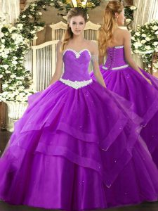Sweetheart Sleeveless Quince Ball Gowns Floor Length Appliques and Ruffled Layers Purple Tulle