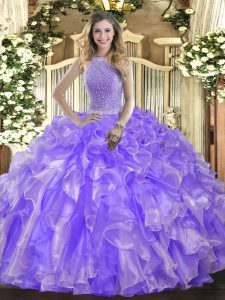 Lavender High-neck Neckline Beading and Ruffles Quinceanera Gown Sleeveless Lace Up
