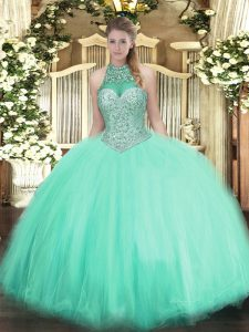 Adorable Sleeveless Lace Up Floor Length Beading 15 Quinceanera Dress