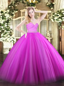 Fuchsia Zipper 15 Quinceanera Dress Beading and Lace Sleeveless Floor Length