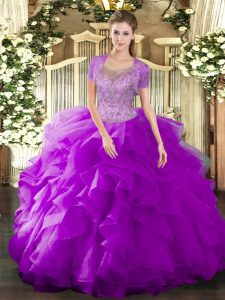 Affordable Sleeveless Clasp Handle Floor Length Beading and Ruffled Layers Quinceanera Gowns