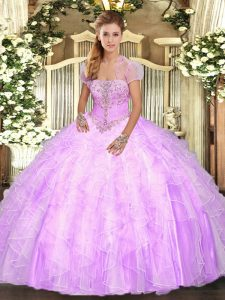 Stylish Ball Gowns Vestidos de Quinceanera Lilac Strapless Tulle Sleeveless Floor Length Lace Up