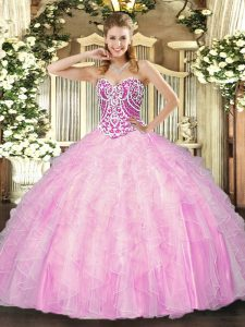 Beading and Ruffles Quinceanera Gown Rose Pink Lace Up Sleeveless Floor Length