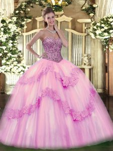 Custom Fit Beading and Appliques and Ruffles Quinceanera Gown Pink Lace Up Sleeveless Floor Length