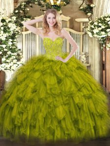 Ideal Olive Green Sleeveless Organza Lace Up Sweet 16 Quinceanera Dress for Military Ball and Sweet 16 and Quinceanera