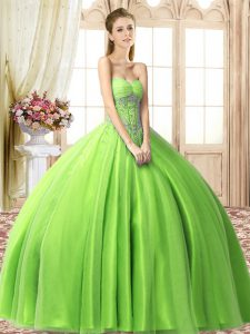 Lace Up Sweetheart Beading Quinceanera Dress Tulle Sleeveless