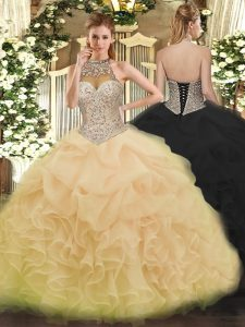 Trendy Champagne Halter Top Neckline Beading and Ruffles and Pick Ups 15 Quinceanera Dress Sleeveless Lace Up