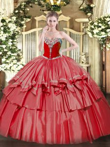 Flirting Coral Red Sleeveless Organza and Taffeta Lace Up Quinceanera Dresses for Military Ball and Sweet 16 and Quinceanera