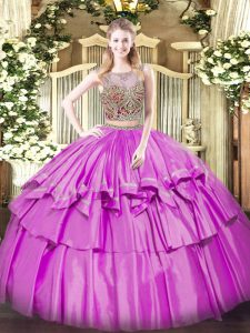 Adorable Lilac Organza and Taffeta Lace Up Scoop Sleeveless Floor Length Ball Gown Prom Dress Beading and Ruffled Layers