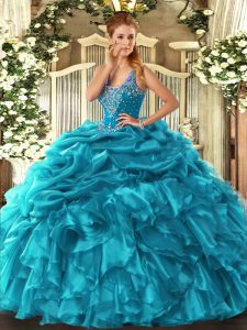 Excellent Organza Sleeveless Floor Length Quinceanera Dresses and Beading and Ruffles and Pick Ups