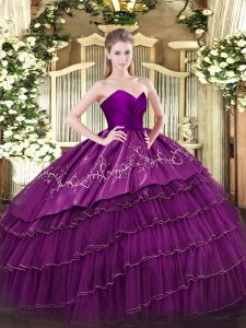 Admirable Eggplant Purple 15 Quinceanera Dress Military Ball and Sweet 16 and Quinceanera with Embroidery and Ruffled Layers Sweetheart Sleeveless Zipper