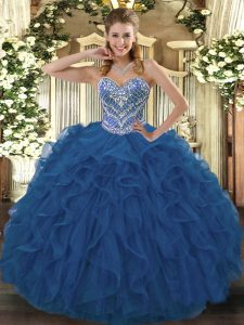 Noble Blue Sleeveless Tulle Lace Up 15th Birthday Dress for Military Ball and Sweet 16 and Quinceanera