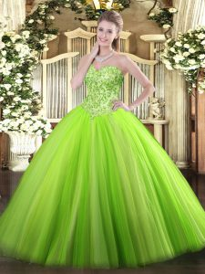 Pretty Ball Gowns Sweetheart Sleeveless Tulle Floor Length Lace Up Appliques Quinceanera Dress