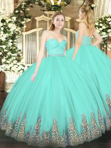 Apple Green Tulle Zipper Sweetheart Sleeveless Floor Length 15 Quinceanera Dress Beading and Lace and Appliques