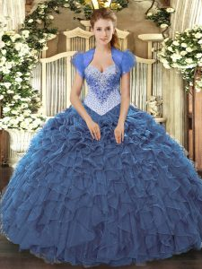 Custom Design Navy Blue Lace Up Sweetheart Beading and Ruffles Quince Ball Gowns Organza Sleeveless