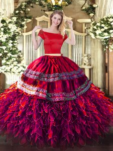 Flare Embroidery and Ruffles 15th Birthday Dress Fuchsia Zipper Short Sleeves Floor Length