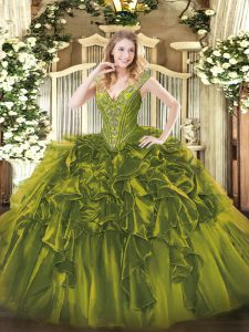 Olive Green Lace Up 15th Birthday Dress Beading and Ruffles Sleeveless Floor Length