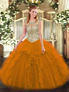 Chic Floor Length Orange Red Sweet 16 Dresses Tulle Sleeveless Beading and Ruffles
