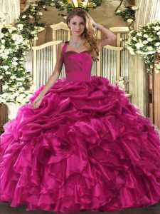 Hot Pink Halter Top Lace Up Ruffles and Pick Ups Sweet 16 Dress Sleeveless