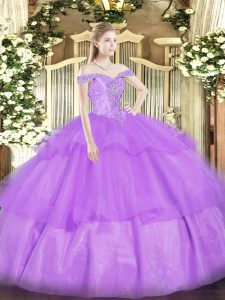 Lavender Ball Gowns Off The Shoulder Sleeveless Organza Floor Length Lace Up Beading and Ruffled Layers Quinceanera Dress