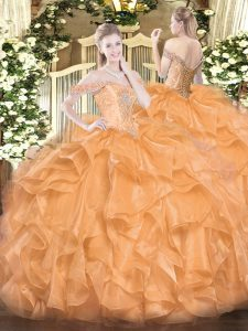 Modest Orange Sleeveless Beading and Ruffles Floor Length Quinceanera Dresses