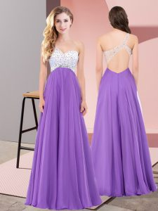 Wonderful Sleeveless Lace Up Floor Length Beading Prom Evening Gown
