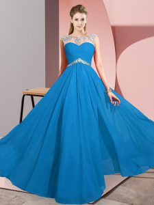 Floor Length Clasp Handle Prom Gown Blue for Prom and Party with Beading