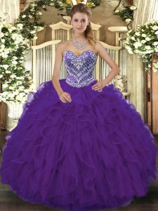 On Sale Purple Lace Up Sweetheart Beading and Ruffled Layers Quinceanera Dress Lace Sleeveless