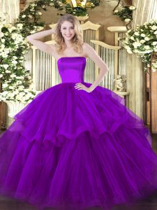 Purple Sleeveless Tulle Brush Train Zipper Ball Gown Prom Dress for Military Ball and Sweet 16 and Quinceanera