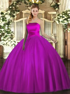 Great Sleeveless Floor Length Ruching Lace Up Quinceanera Gown with Fuchsia