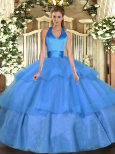 Sleeveless Lace Up Floor Length Ruffled Layers Sweet 16 Dress