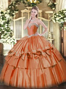 Floor Length Ball Gowns Sleeveless Rust Red 15 Quinceanera Dress Lace Up