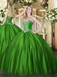 Wonderful Green Satin Lace Up Quinceanera Gown Sleeveless Floor Length Beading