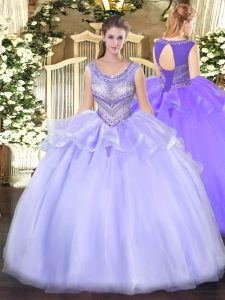 Lovely Lavender Sleeveless Floor Length Beading Lace Up Quinceanera Gown