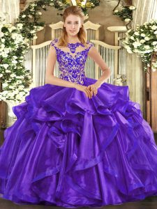 Trendy Purple Scoop Neckline Beading and Ruffles 15th Birthday Dress Cap Sleeves Lace Up