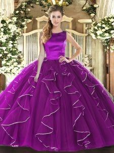 Charming Eggplant Purple Lace Up Quinceanera Dress Ruffles Sleeveless Floor Length
