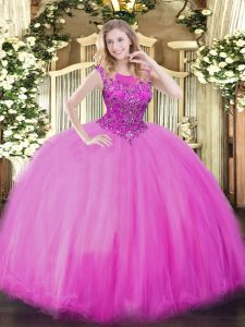 Shining Lilac Ball Gowns Beading Vestidos de Quinceanera Zipper Organza Sleeveless Floor Length