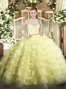 Lace and Ruffled Layers 15 Quinceanera Dress Yellow Zipper Sleeveless Floor Length