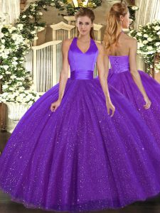Floor Length Purple Quince Ball Gowns Tulle Sleeveless Sequins