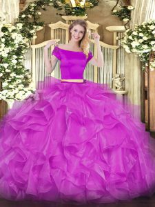 Perfect Fuchsia Short Sleeves Organza Zipper Quince Ball Gowns for Military Ball and Sweet 16 and Quinceanera