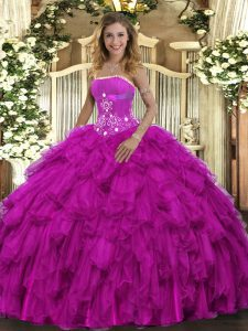 Super Fuchsia Ball Gowns Beading and Ruffles Sweet 16 Quinceanera Dress Lace Up Organza Sleeveless Floor Length