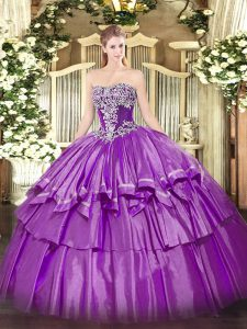 Purple Ball Gowns Organza and Taffeta Strapless Sleeveless Beading and Ruffled Layers Floor Length Lace Up Sweet 16 Quinceanera Dress